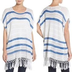 Cupcakes And Cashmere Striped Open Knit Tunic Top Womens XS White Tassel Hem #CupcakesandCashmere #Tunic #Casual Tassels, Cashmere, Cupcakes, Tunic Tops, Blouses, Knitting, Casual, Sleeves, Shirts