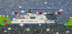 L'un des navire de MyFerryLink décoré aux armes de Noël (Crédit photo MyFerryLink)