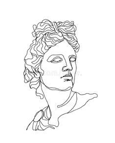 Outline Art, Outline Drawings, Art Drawings, Aesthetic Drawing, Aesthetic Art, Aesthetic Tattoo, Apollo Tattoo, Apollo Aesthetic, Single Line Drawing