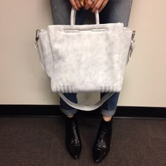 Our exclusive marled grey leather tote from #31philliplim coming this spring --- barneysnyofficial Instagram photo
