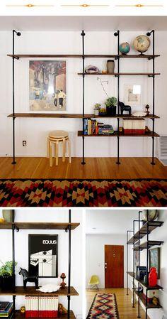 galvanized pipe shelves - boy's room
