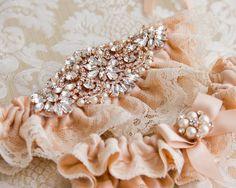 Rose Gold Wedding Garter Set Blush Wedding Garter by GarterQueen