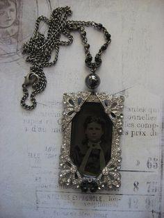 Gorgeous Antique Repurposed Deco Tintype Necklace