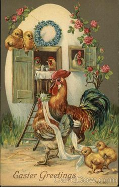 Divided Back Postcard Easter Greetings - Chicks With Chicks Easter Pictures, Bird Pictures, Vintage Cards, Vintage Postcards, Arte Do Galo, Decoupage, Rooster Art, Hoppy Easter, Easter Chick