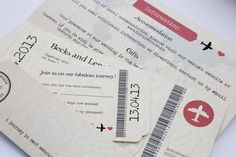 Vintage Style Airmail Parchment Travel Ticket Wedding Invitation