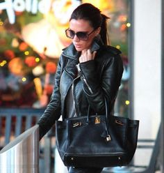 Birkins are meant to be worn. And seen. - Leather jacket. sunglasses. victoria beckham.