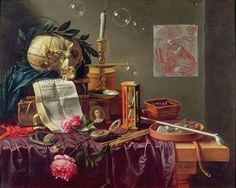 Credit: A Vanitas Still Life, Sion, Peeter (fl.17th century) / Private Collection / Photo © Christie's Images / The Bridgeman Art Library