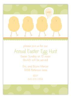 Green Polka Dot Chicks #Easter Invitation