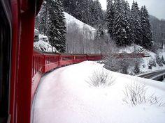 Snow train in Switzerland