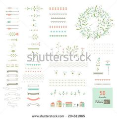 Floral decor set. 50 different vector brushes. Isolated.