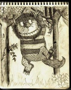 Pinterest Pin - A teen's ink drawing of Where the Wild Things Are, in honor of author #MauriceSendak's birthday.