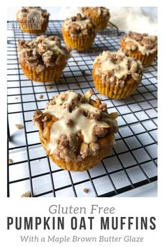 Fall is in full swing here in the Pacific Northwest and I'm celebrating with some of my favorite autumn desserts! These pumpkin oat muffins are topped with a crumb topping and drizzled with a maple brown butter glaze. Oat Muffins, Gluten Free Muffins, Gluten Free Oats, Gluten Free Pumpkin, Gluten Free Desserts, Breakfast Muffins, Autumn Desserts, Gluten Free Thanksgiving