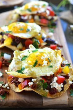 Healthy Chorizo Huevos Rancheros. These are INSANELY yummy! The tortilla is baked, not fried.