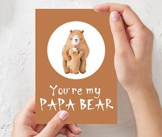 Fathers day gift CARD, You are my PAPA BEAR printable funny card, Greeting card for dad, Daddy Happy Fathers Day, Thanks Dad from daughter Happy Fathers Day, Fathers Day Gifts, Penguin Illustration, Bear Watercolor, Diy Father's Day Gifts, Wall Art Quotes, Funny Cards, Cat Lover Gifts, Baby Shower Gifts