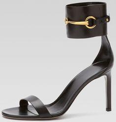 Gucci Horsebit Patent Ankle-Wrap Ursula Sandals in Black