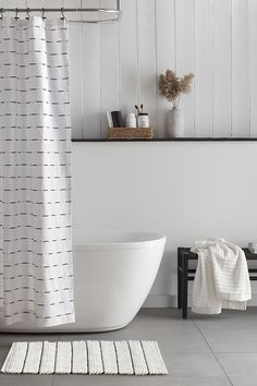 Injecting a classic graphic design into your bathroom is simple when you've got stylish decor like this easy-care shower curtain in the mix. Machine wash and dryable, it's an excellent choice for humid areas like your bathroom. Style your decor with matching towels and accessories to draw on this on-trend colour palette. Mason Jar Tumbler, Mason Jar Soap Dispenser, Wood Wall Shelf, Bathroom Collections, Color Trends, Rattan, Towels, Palette, Draw