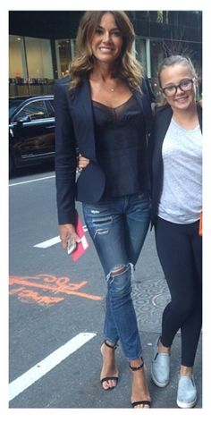 Kelly Bensimon blazer and skinnies