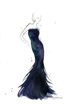 A black/green/and purple watercolor dress I painted a while back. titled Oscar Worthy! :) #fashionillustration