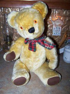 Classic Jointed Blonde Mohair Teddy Bear Stuffed Animal.