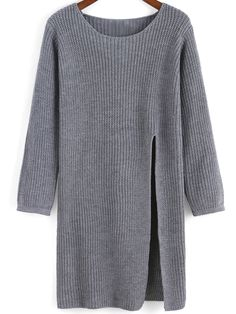 Shop Grey Round Neck Split Knit Sweater online. SheIn offers Grey Round Neck Split Knit Sweater & more to fit your fashionable needs.