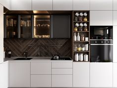 kitchen design in two variations on Behance Kitchen Cupboard Designs, Glass Kitchen Cabinets, Kitchen Room Design, Home Decor Kitchen, Interior Design Kitchen, Modern Kitchen Interiors, Contemporary Kitchen Design, Apartment Interior Design, Luxury Kitchens