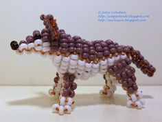 Beaded 3D Wolf. Free detailed tutorial.