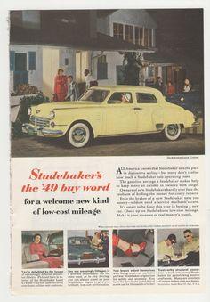 1949 Post War Studebaker Magazine Advertisement by fromjanet, $7.00