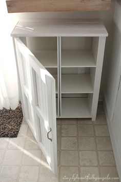 Simply Beautiful by Angela: DIY Storage Cabinet Using Cheap Cube Units Diy Storage Cabinets, Farmhouse Storage Cabinets, Laundry Room Storage, Basement Storage, Wooden Cabinets, Bedroom Storage, Furniture Projects, Diy Furniture, Diy Projects