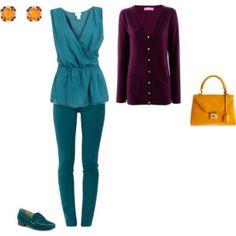 Soft Autumn/ Deep Summer - burgundy/petroelum/orangeyellow inspiration