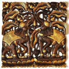 Relief Teak Holz Wandbildrelief Elefant gold 60x60cm