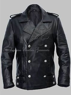 Para Hombres Alemán Naval Militar Chaquetón Negro Chaqueta De Cuero Genuino Cuero de vaca in Clothes, Shoes & Accessories, Men's Clothing, Coats & Jackets | eBay