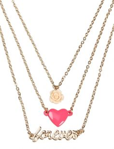 3 Layer Rose Heart Necklace | Justice
