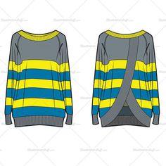 Women's Fashion Striped Sweater Flat Template