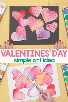 Simple Valentines Day Art Idea Simple Art, Easy Peasy, Holiday Parties, Valentines Day, Party, Fun, Kids, Classroom, Valentines