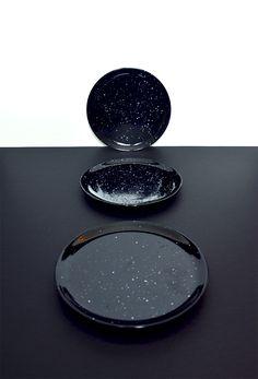 Beautiful dark vintage ceramic plates