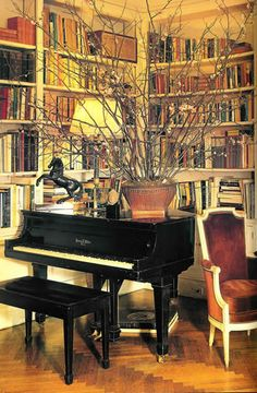 Jackie Onassis' Library in her Fifth Ave apartment, NYC.