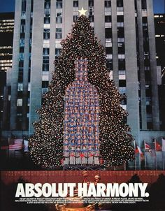 """Absolut Harmony."" This is an original 1992 color print ad for Absolut Vodka with a color image of the New York Choral Society singing in front of the Christmas tree at Rockefeller Center. CONDITION T"