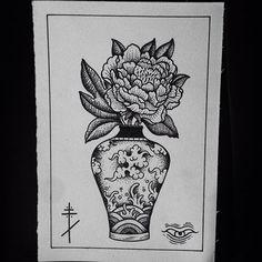 Instagram media by frank_synthetic - Chinese vase with peony #tattoo #tattoos #tattooer #tattooist #tattooartiest #tats #chinese#vase#peony#flower#black #blxck #blackart #blackink #blackwork #blacktattoo #blackworker #dot #dots #dotart #dotwork #dottattoo #line #linework #linetattoo