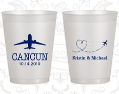Destination Wedding, Custom Frosted Party Cups, Travel Wedding, Airplane, Heart, Natural Frosted Cups (92)