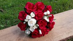 Big Red Crepe Paper Wedding Bouquet Birde Bouquet by moniaflowers