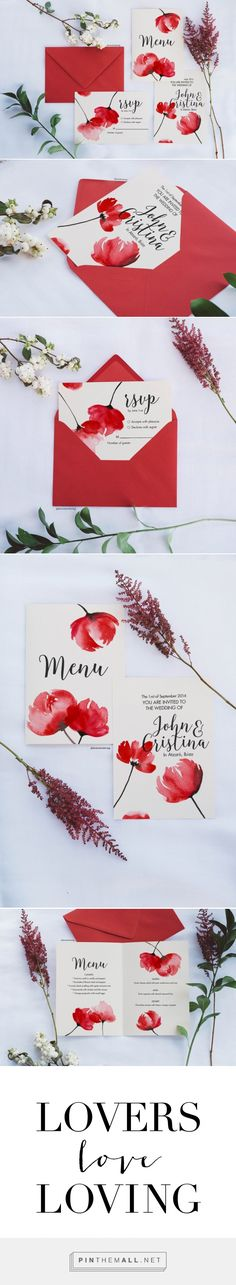 Watercolor floral invitation: Pantone Fiesta