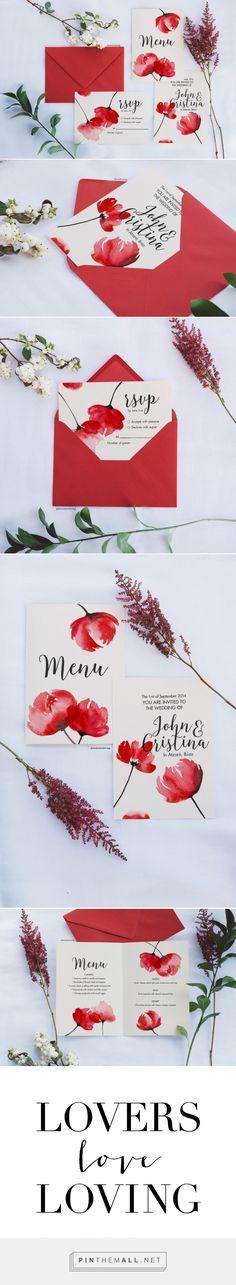 Watercolor floral invitation: Pantone Fiesta » Lovers Love Loving   #watercolor #wedding #invitation #unique #design #flowers