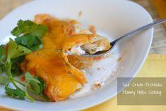 Sour Cream Chicken Enchiladas with Red Sauce