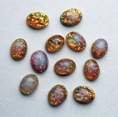 12 Vintage Glass Fire Opal Cabochons  Fire Opal by ThisPurplePoppy, $5.50