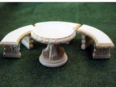 Table And 3 Benches In Ivory (A1579IV) - Garden. Over 10,000 similar dolls house miniature products available from www.thedollshousestore.co.uk