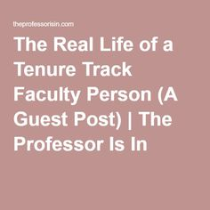 real life tenure track faculty person