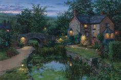 Pinturas do artista russo Evgeny Lushpin. Nature Paintings, Beautiful Paintings, Buy Paintings, Time Painting, Pond, Beautiful Places, Scenery, Around The Worlds, Exterior