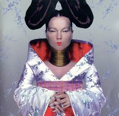 For Bjork's cover shoot for her 1997 album Homogenic, she commissioned young rising star Alexander McQueen to create a surreal look (no digital manipulation!) depicting her as a warrior who had to fight not with weapons, but with love. Cool Album Covers, Music Album Covers, Music Albums, Fm Music, Music Icon, Anthony Kiedis, Alexander Mcqueen, Freddie Mercury, Bjork Homogenic