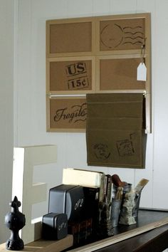 Combine Smalls to Make Large Bulletin Board, add rod: this dollar store solution was inspired by the Pottery Barn version