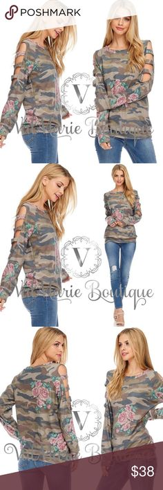 Camo Floral French Terry Top MADE IN USA- this top is SOOOO SOFT AND COMFY. MADE OF BABY FRENCH TERRY! Features a stretchy material, side ladder sleeves and crew neckline. Fits true to size, women's sizing. S(2-4) M(6-8) L(10-12) - 82% poly, 15% rayon, 3% spandex. Care Instructions: wash in cold water, do not bleach. Hang or low dry, no iron. ValMarie Tops